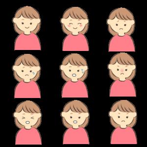 いろいろな表情の女性のイラスト