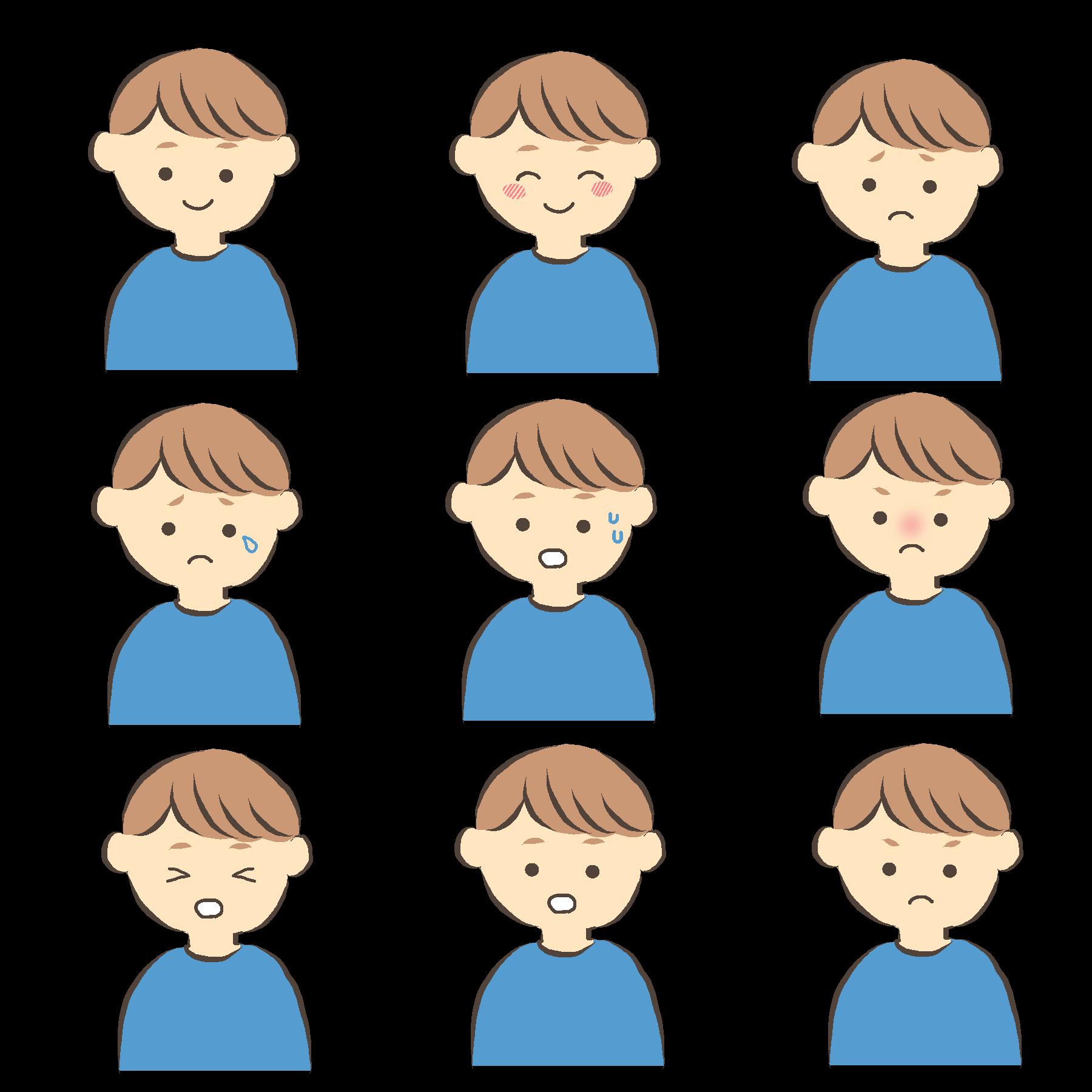 いろいろな表情の男性のイラスト青