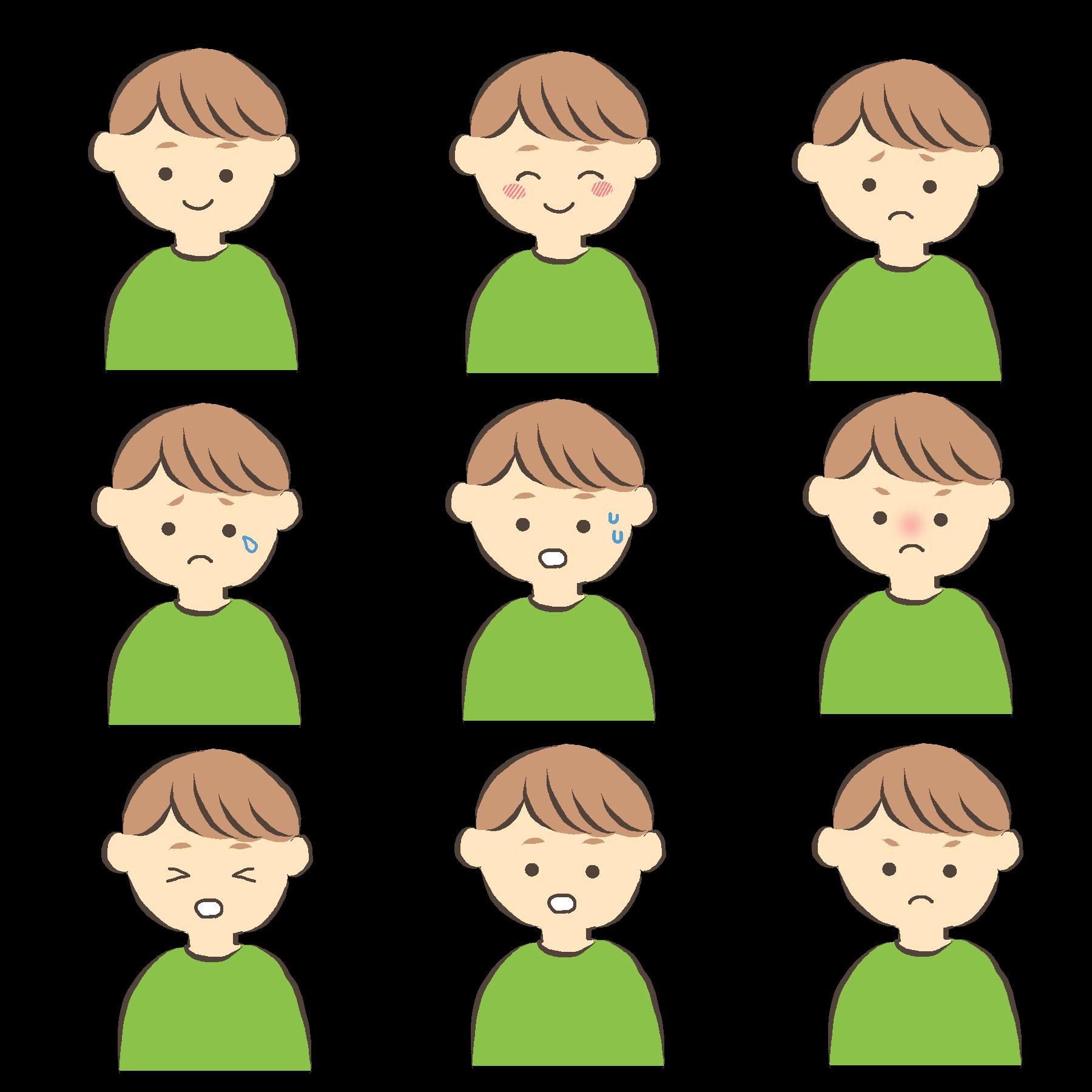 いろいろな表情の男性のイラスト緑